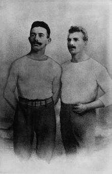 The cousins Alfred (1869-1942) and Gustav Felix (1875-1945) Flatow, Olympic champions in gymnastics at the 1896 Summer Games in Athens. Both starve to death in Theresienstadt concentration camp.