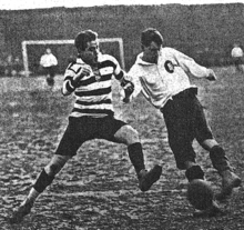 One of the few images taken during his years at KFV, Fuchs (right) in 1913 wearing his KFV jersey and in a challenge with Schaich from VfB Stuttgart.